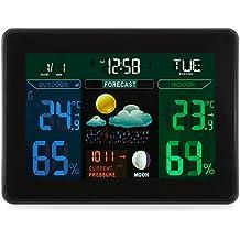 EarMe Monitor de Temperatura Termómetro Higrómetro Humedad Inalámbrica Digital Estación Meteorológica Colores Led con 2 Sensores para Uso en Interiores / ExterioresEarMe … (TS-71)