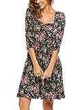 Zeagoo Damen Vintage Kleid Sommerkleid Cocktailkleid Party Kleid mit Blumenmuster V Ausschnitt A Linie Schwarz XL