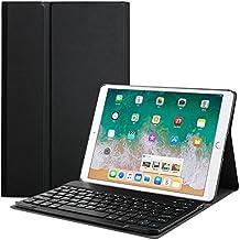 Bestparnter - Funda para iPad de 9,7 pulgadas, 2017, iPad Air 2, iPad Air y iPad Air con teclado inalámbrico desmontable magnético para Apple iPad de 9,7 pulgadas, 2017, iPad Air 1 2, color negro