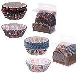 2er-Set Cupcake Papierförmchen Fuchs & Eule - 1 x Packung Muffinformen Fuchs mit 72 Stück, 1 x Packung Muffinformen Eule mit 72 Stück - Muffinform - Cupcake - Muffinförmchen