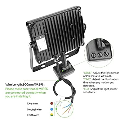 LE LED Fluter mit Bewegungsmelder | LED Strahler ersetzt Halogenlampe | 6500K Kaltweiß | IP65 Wasserdicht | sensor außenleuchten | Flutlicht Scheinwerfer Außenleuchten 10W/30W/50W 3400055/66/57