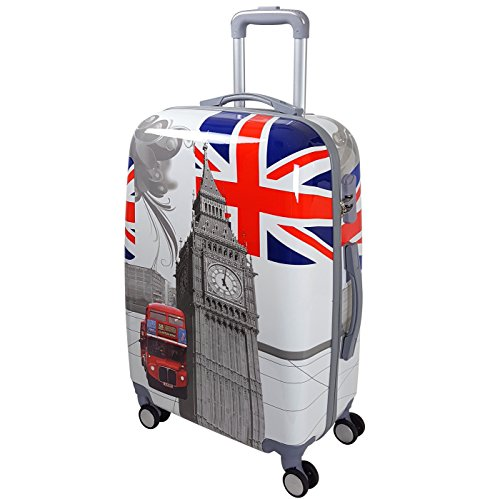 QTC Hartschalen Reisekoffer Mix Sicherheits Zahlenschloss mit 4 Doppelrollen Bunte Motive Verschiedene Größen (England, XL)