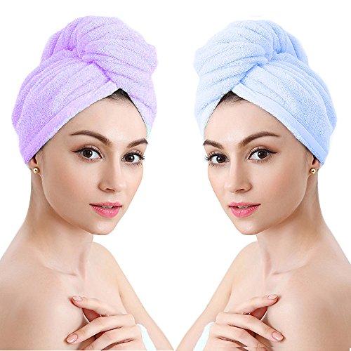 Mikrofaser Haar Turban Handtuch Haartrocknentuch Haar Turban Wrap Haare Trocknen Handtücher Super Saugfähig für Bad Spa Make-up (2 Stück,Blau und Lila)
