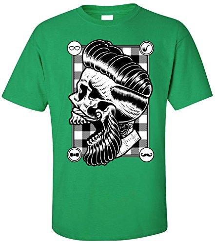 PAPAYANA - HIPSTER-SKULL - Herren T-Shirt - SWAG HIPSTER FACE BEART BARBER DOPE Grün