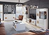 Wohnwand Wohnzimmer Set WOOD Sideboard Lowboard Vitrine Hängeregal (Set mit beleuchtung)