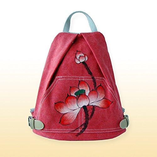 Fatta a mano e dipinta a mano Baotan tracolla Borsa a tracolla vento nazionale Lady zaino, Bao blu Red