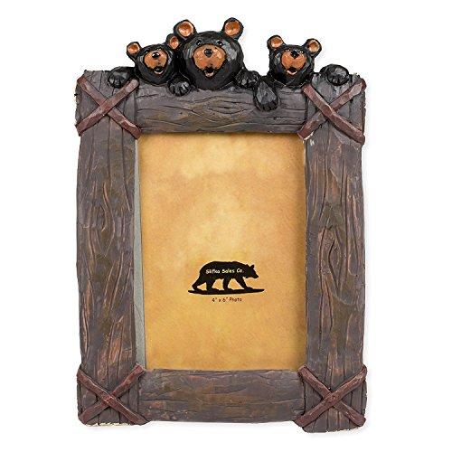 Schwarz Bär Trio 20,3x 5,1x 26,7cm Kunstharz handgefertigten Tischplatte 4x 6Bilderrahmen -