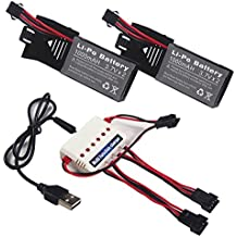 Wwman 2pcs 3.7v 1000mah Oficial de la batería y cargador 1to3 para Udi U842 U818S Rc Quadcopter Drone negro piezas de repuesto