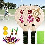 Lucky-all star Classic Beach Paddle Ball Set - Raquette de Badminton Beach Paddle pour l'intérieur et l'extérieur, Battledore Beach Paddle Ball Set pour Enfants, Adolescents et Adultes