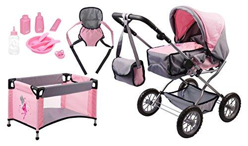 Bayer Design 1500815 - Puppenwagen Grande Set mit Bett und Zubehör Puppen, 46 cm, grau/rosa