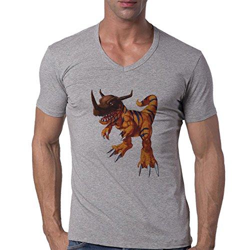 Digimon Agumon Greymon Wargreymon Wargreymon Fight Brown Head Herren V-Neck T-Shirt Grau