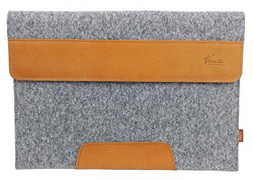 "15,7 - 17,3 Zoll Laptop 17,3 Zoll Tasche Sleeve Hülle Ultrabook Schutzhülle für 17"" Notebook mit Leder-Applikationen, Filztasche für Acer Aspire, Asus, Hewlett-Packard HP, MSI, Medion, Lenovo (Grau)"