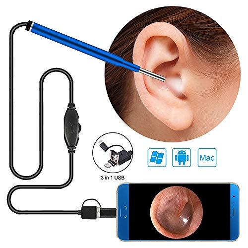 LittleMokey 3 in 1 USB Endoskop-Kamera 3,9 mm 720P HD 1,0 MP Wasserdichte Endoskop-Inspektionskamera-Ohr-Wachs-Entferner-Werkzeug Otoskop Visual Earpick für Android (Blau)