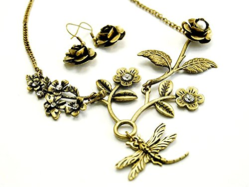 Schmuck Libelle Kostüm (Gebranntes Gold Libelle Halskette & Ohrring Set–Kostüm)