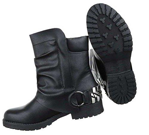 Damen Stiefeletten Schuhe Biker Boots Schwarz Schwarz