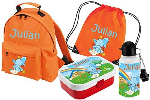 Mein Zwergenland Set 5 Kindergartenrucksack Classic und Brotdose Mepal mit Bento Box und Gabel, Turnbeutel + Trinkflasche mit Name Elefant, 4-teilig, Orange