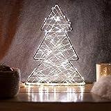 SnowEra Lampada Decorativa a LED in Metallo / Illuminazione Natalizia a Forma di Albero Argentato con 140 Micro LED | Colore Luce: Bianco Caldo