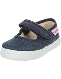 Cienta Mary Jane Sneakers For Girls - Denim Casual Shoes With Adjustable Strap