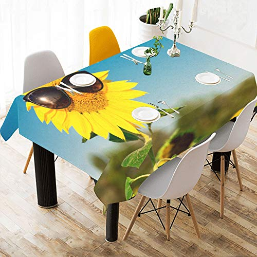Zemivs Sunflower Wearing Sunglasses Custom Cotton Linen Printed Square Stain Resistant Table Linens Cloth Cover Tablecloth for Kitchen Home Dining Room Tabletop Decor 60 X 84 Inch Washable (Square Marine Blau Tischdecke)