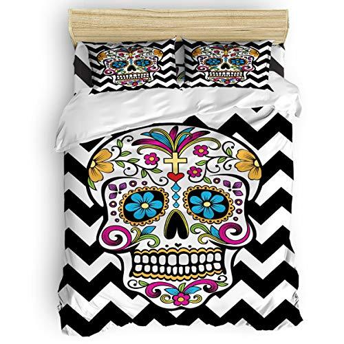 SunnyM 4-teiliges Bettwäscheset Sugar Skull - 1 Bettbezug 1 Tagesdecke 2 Kissenbezüge für Kinder Jugendliche Erwachsene Schwarz Weiß Chevron, Human Skeleton54609-s, Volle Größe (Chevron Weiß Tagesdecke Schwarz Und)