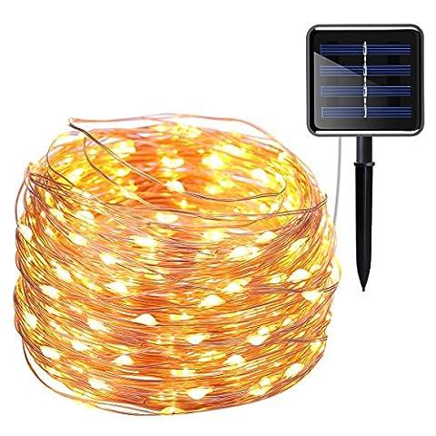 AMIR Solar Lichterkette, 20M 200 LED 8 Modus Kupferdraht Lichterketten Bunt, Batteriebetriebene String Lights für Innen, Garten, Hochzeit, Party, Halloween, Weihnachten usw.