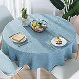 Nclon Volltonfarbe Baumwolle Leinen Tischdecke, Modernen Einfache Runden Esstisch Tischtuch tischwäsche, Textur Natürlichen Hohe Farbe Fasten-Blau Durchmesser 120cm