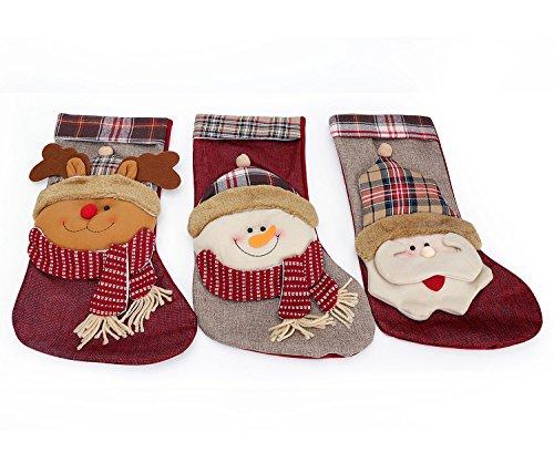 3er Frohe Weihnachten Merry Christmas Weihnachtsstrumpf mit Schneemann und Rentier