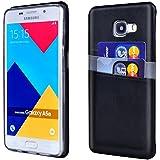 Coque Galaxy A5 2016 Cuir Noir - Supad Étui Ultra Mince [Cards] Housse Arrière Portefeuille en Cuir Étui pour Samsung Galaxy A5 2016