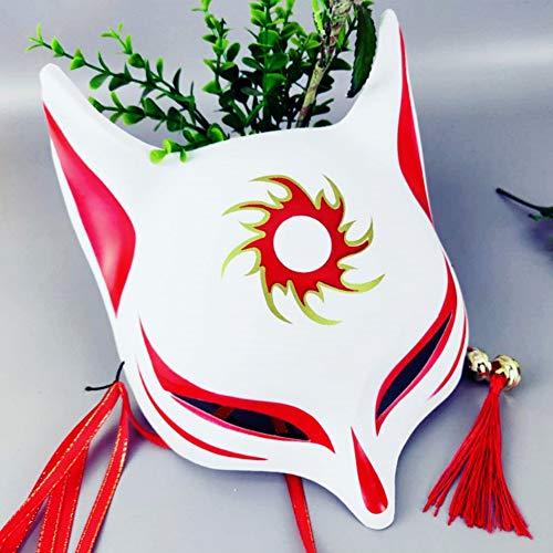 JstDoit Fox Mask Japanese Style Halbgesichtsbedeckte 3D-Maske für Erwachsene Kinder Maskeraden Festival Kostüm Halloween (Anime Fox Ohren Kostüm)
