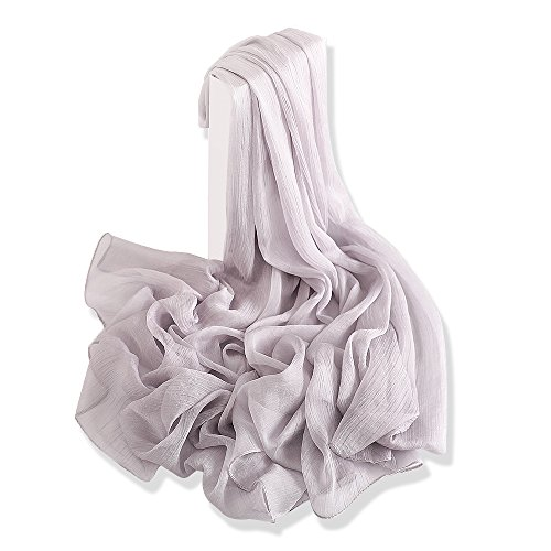 Yfzyt donna lungo sciarpa wraps chiffon scarf, signora elegante multicolore primavera estate sciarpa scialle stole coprispalle shawl soft beach scarves - grigio