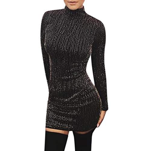 Rollkragenkleid mit Pailletten Damen schlank Nachtclub sexy Lange Ärmel hohe Taille Minikleid URIBAKY