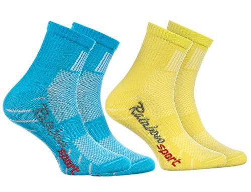 Rainbow Socks - 2 Paar Sportsocken für KINDER - Atmende BAUMWOLLE - zum Laufen, Radfahren und anderen Sportarten - Türkis Gelb Pack  Größen: 30-35, Made in EU (Gelb Türkis)