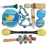 Giocattoli musicali per bambini, 11pcs percussioni kit di strumenti musicali giocattolo tamburo campana corno martello tamburello nacchere bastone di legno per bambini bambino prima educazione (colore