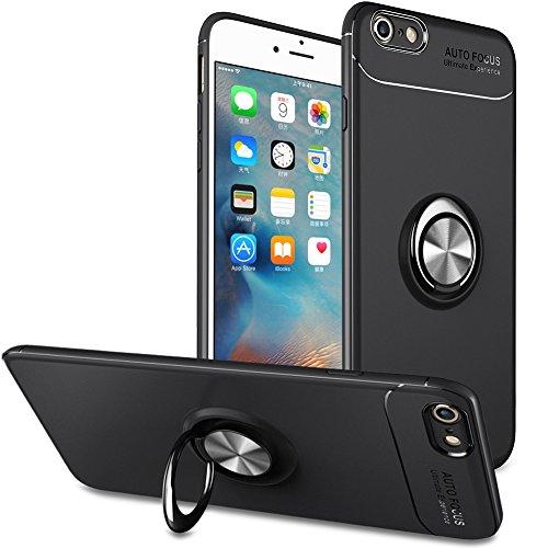 BtDuck iPhone 6S Plus Hülle Schwarz, Soft Ultra Slim Matt Dünn Silikon Hülle für iPhone 6S Plus mit Metall Ring Handyhalterung Auto Magnet Ständer Smartphone Halter Ständer Ringhalter Hülle Schwarz