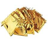 JOVIVI 50 Stück Organzabeutel Organzasäckchen 7x9cm Schmuckbeutel Gastgeschenkebeutel Geschenk Säckchen Beutel Gold