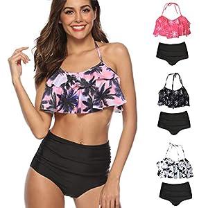 ☺HWTOP Bikini Set Damen High Waist Badeanzug Zweiteilige Bedruckte Oberteile Unterteile Bademode Badewear