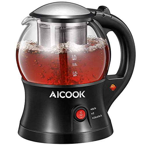 AICOOK Electric Tea Maker, Tea Press Kettle with Tea Infuser, Smart Glass Tea Pot, Reheat Function and Boil-Dry Protection, 750W, BPA Free