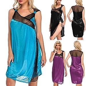 Marico Nahum Damen Sexy Dessous Nachtwäsche Perspektive Split Sheer Mesh Chemise Spitze Satin Spleißrock mit Tanga Nachtwäsche