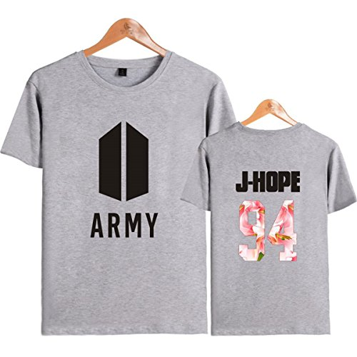 SIMYJOY Lovers Army Bangtan Boys BTS Fans Maglietta Cool KPOP Hip Pop Top per Uomo Donna Teen grigio 94 j-hope