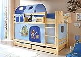 Etagenbett Doppelbett Marcel Kiefer massiv Natur mit Farbauswahl, Vorhangstoff:Pirat Hellblau Dunkelblau