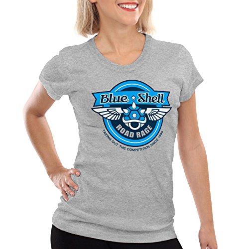 style3 Blue Shell Kart Damen T-Shirt videospiel konsole mario, Farbe:Grau meliert;Größe:2XL