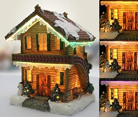 Christmas Snow Village Log Cabin Chalet Fiber Optic LED by Banberry Designs