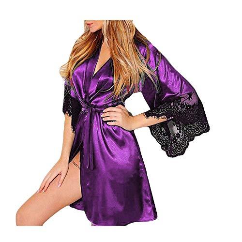 QinMM Albornoz Mujer Satén Camisón Sexy Pijama Vestido Kimono Pijama Ropa de Dormir Bata 3XL, Morado...