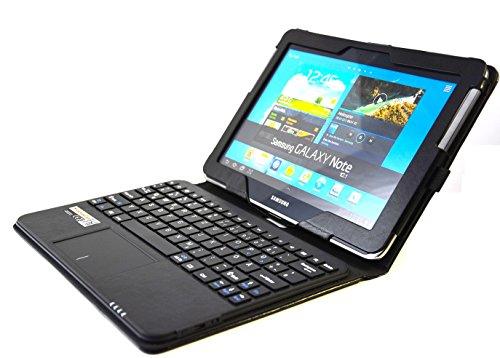 SonnyGoldTech pour Samsung Galaxy Note 10.1 - Pochette avec clavier et pavé tactile intégré, Clavier français (AZERTY) | Housse avec clavier et pavé tactile pour Galaxy Note 10.1 GT-N8000, Galaxy Note 10.1 Wi-Fi GT-N8010, Galaxy Note 10.1 LTE GT-N8020 | Etui avec clavier Bluetooth et pavé tactile, Clavier français (AZERTY) | Noir