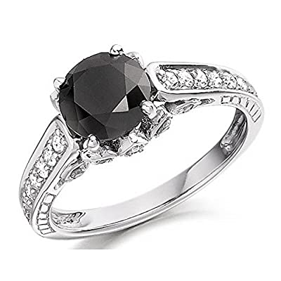 3.00 Carat Black & White Diamond Engagement Ring Crafted in 9k White Gold