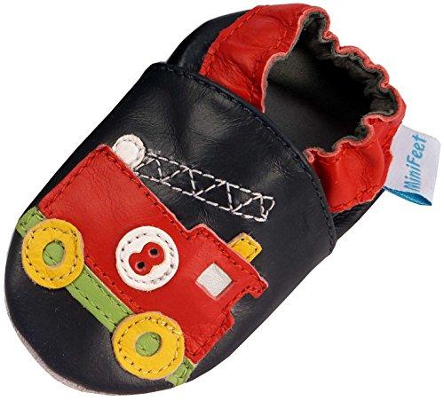 MiniFeet Weiche Leder Babyschuhe, Feuerwehrwagen Schwarz