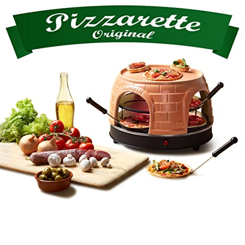 Emerio PO-116124 Pizzart Four à pizza original en terre cuite faite à la main pour 8 personnes