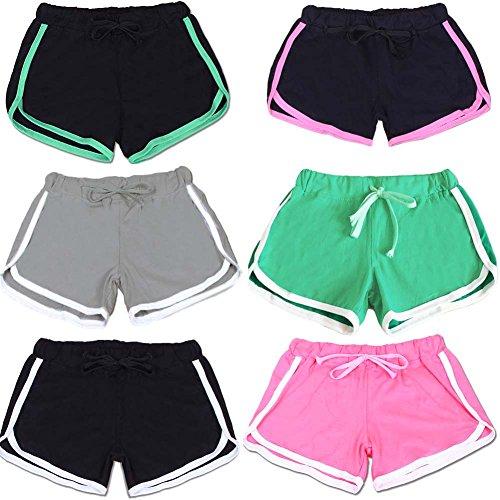 Balai Femmes Casual Shorts en vrac coton fendus taille elastique Shorts Taille Plus Bleu