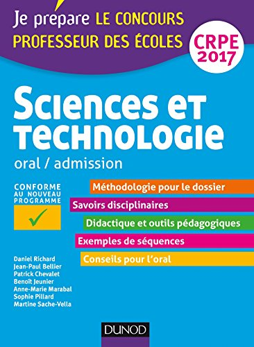 Sciences et technologie - Professeur des coles - Oral, admission - CRPE 2017