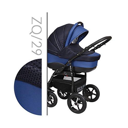Baby Merc Zipy 3 in 1 Kombi Kinderwagen Set Babywagen mit Autositz mit Zubehör 0-3 Jahre 0-15 kg Insektenschutz Netz Einkaufstasche Regenschutz Getränkehalter Buggy … (29)